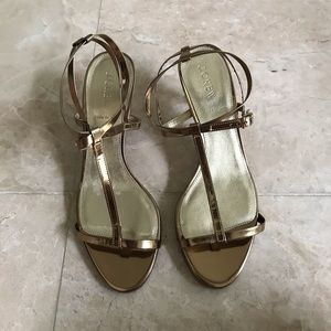 J.Crew Gold Strappy Sandals Made in Italy